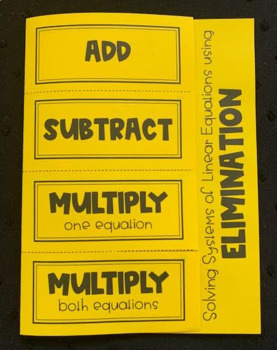 Solving Linear Systems Using Elimination (Algebra Foldable)