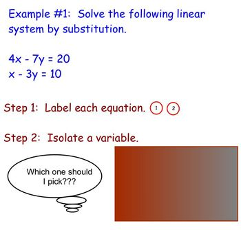 Solving Linear Systems Using Substitution