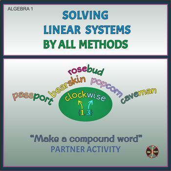 "Linear Systems(All Methods REVIEW) - Partner Activity ""Make compound words"""