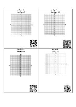 Solving Linear Systems by Graphing Task Card Set B with QR Code Key