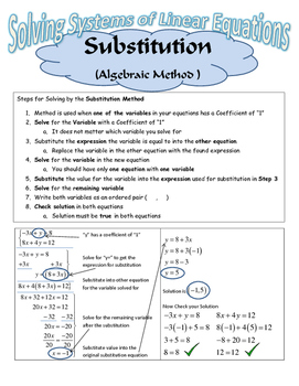 Solving Linear Systems by the Substitution Method