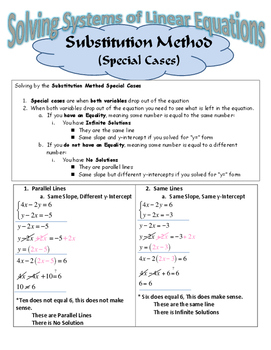 Solving Linear Systems by the Substitution Method (Special Cases)