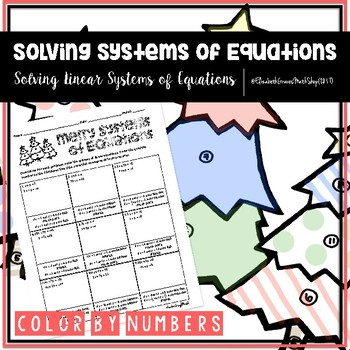 solving systems of linear equations color by numbers tpt. Black Bedroom Furniture Sets. Home Design Ideas