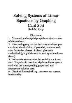 Solving Linear Systems of Equations by Graphing Card Sort