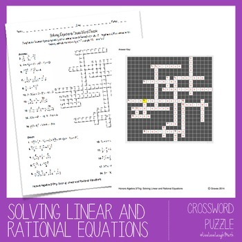 Solving Linear and Rational Equations Crossword Puzzle