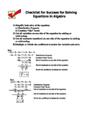 Solving Linear equations steps for Algebra I