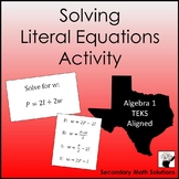 Literal Equations Activity (Amazing Race) (A12E)