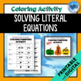Literal Equations *Carving Pumpkins* Coloring Activity - P
