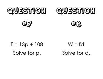 Solving Literal Equations Classroom Rotations