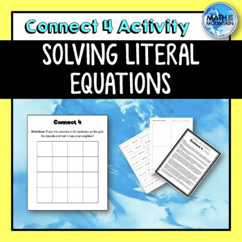 Solving Literal Equations {Connect 4} Activity by Math by the Mountain