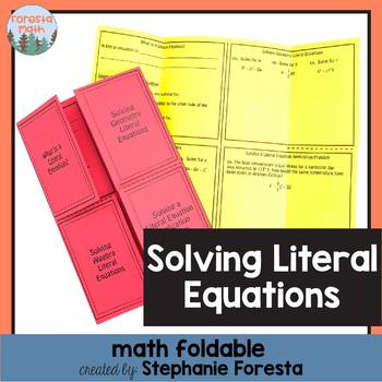Solving Literal Equations Foldable