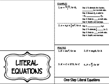 Solving Literal Equations INB FOLDABLE