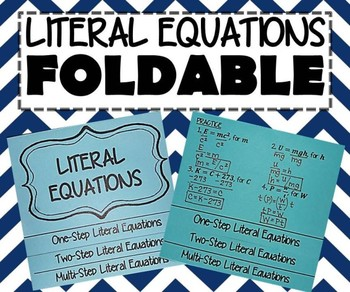 INB FOLDABLE - Algebra - Solving Literal Equations