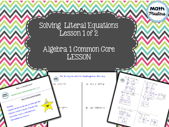 Solving Literal Equations Lesson 1 of 2