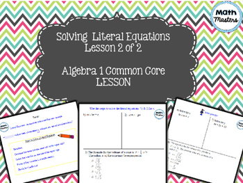 Solving Literal Equations Lesson 2 of 2