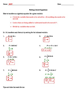 Solving Literal Equations Notes By Common Sense 4 The Common Core