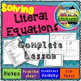 Solving Literal Equations Notes, Practice, Enrichment, Exit