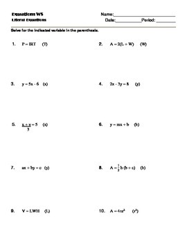 Literal Equations Worksheets: solving literal equations notes and worksheet solving for a ,