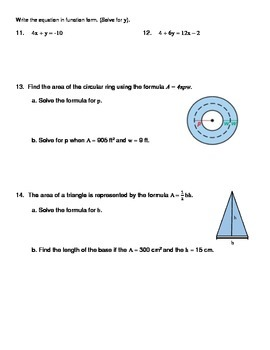 Solving Literal Equations Notes and Worksheet (Solving for a Specific Variable)