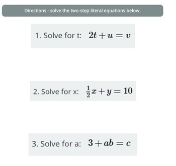Solving Literal Equations Practice