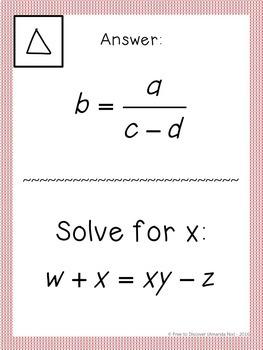 Solving Literal Equations Activity - Scavenger Hunt
