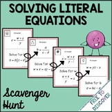Solving Literal Equations Scavenger Hunt Activity