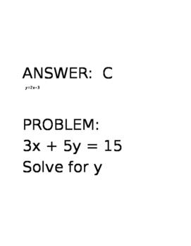 Solving Literal Equations Scavenger Hunt