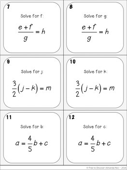 Literal Equations Activity - Task Cards