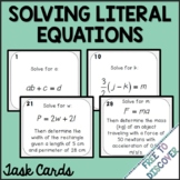 Literal Equations Task Cards Activity