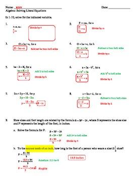Solving Literal Equations Worksheet