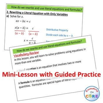 SOLVING LITERAL EQUATIONS & FORMULAS PowerPoint Mini-Lesson & Guided Practice