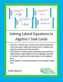 Algebra:  Solving Literal Equations for Algebra I Task Cards