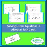 Solving Literal Equations for Algebra I Task Cards