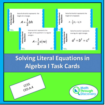 Solving Literal Equations for Algebra I Task Cards