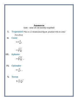 Solving Literal Equations of Geometric Figures