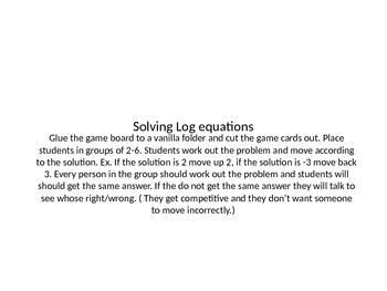 Solving Log Equations Board Game