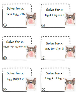 Solving Logarithm Functions Task Cards