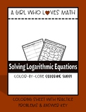 Solving Logarithmic Equations Coloring Sheet