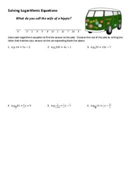 Solving Logarithmic Equations Joke Worksheet with Answer Key