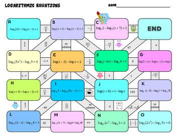 Solving Logarithmic Equations Maze plus HW