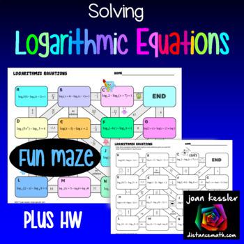 Logarithmic Equations Maze plus HW