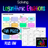 Logarithmic Equations Maze plus HW  with Interactive Easel Distance Learning