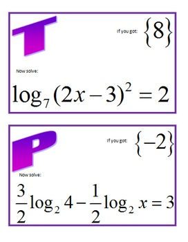 Solving Logarithmic Equations Scavenger Hunt