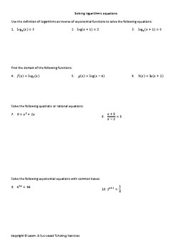 Solving Logarithmic Equations learning guide