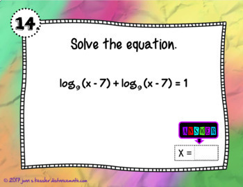 Solving Logarithmic Equations with GOOGLE Slides plus HW
