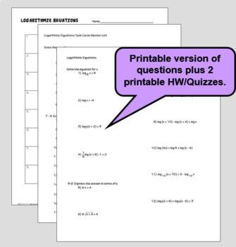 Solving Logarithmic Equations with GOOGLE Slides™ plus HW