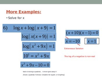 Solving Logarithmic Functions
