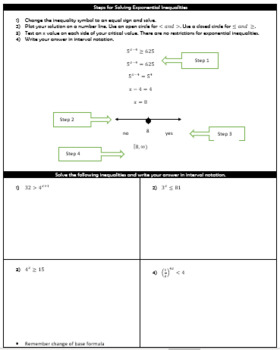 Solving Logarithmic Inequalities Guided Notes and HW