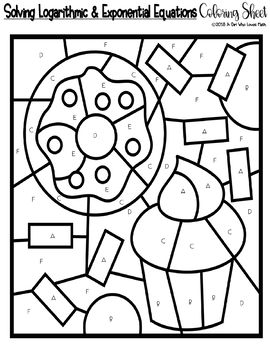Solving Logarithmic and Exponential Equations Coloring Sheet