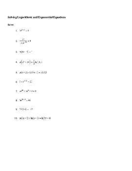 Solving Logarithmic and Exponential Equations Worksheet